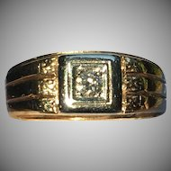 Vintage classic Gents diamond ring 14 kt