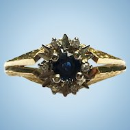 Vintage 18 kt Brutalist sapphire and diamond ring