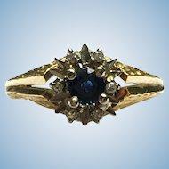 Vintage 18 kt Brutalist sapphire and diamond ring