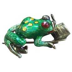Vintage 18 kt and enamel Frog with glasses reading a book brooch