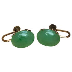 Vintage Oval Jadeite Gumps of San Francisco earrings