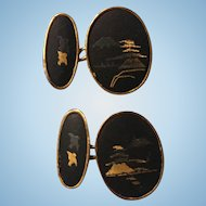 Vintage Japanese Damascene oval Cufflinks