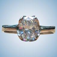 Custom made 1.01 ct oval diamond engagement ring in 14 kt White gold