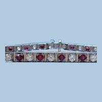 Vintage Natural ruby and diamond 14 kt white gold bracelet circa 1950