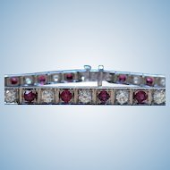 Vintage Natural ruby and diamond 14 kt white gold bracelet circa 1950