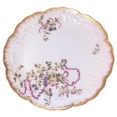 Antique Limoges hand painted violets and ribbon plate