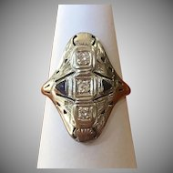 Vintage 14 kt white gold sapphire and diamond ring circa 1920