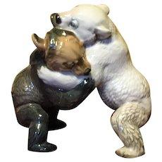 Vintage Royal Heidelberg Winterling wrestling bears