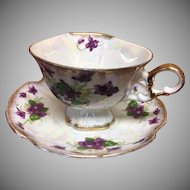 Sweet violet cup and saucer hand painted
