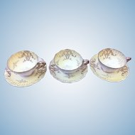 Vintage Royal Sealy China set of three cup and saucers