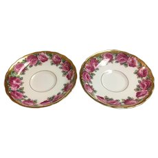 Two saucers of Tuscan rose by Tuscan fine English bone china made in England
