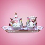 Sorelle porcelain sugar and creamer on a tray