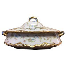Hutschenreuther Selb Covered dish with pink roses and forget me nots