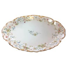 Hutschenreuther Selb porcelain platter with pink roses and forget me nots
