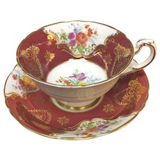 Paragon burgundy gold giltwith colorful summer flowers teacup and saucer set