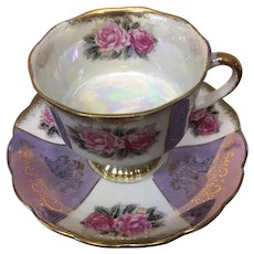 Luster porcelain teacup and saucer set
