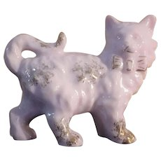 Vintage Pale pink Gold gilt porcelain Cat