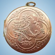 Large Vintage Cornucopia locket  2 inch