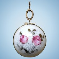 Guilloche enamel and hand painted roses sphere locket