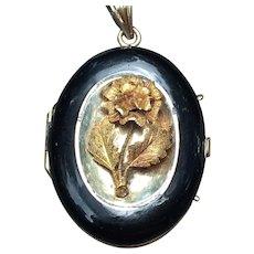 Victorian 14 kt rolled gold rose locket with black enamel