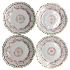 Four Vintage German rose and gold plates