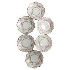 Six Vintage rose garland and gold gilt porcelain plates