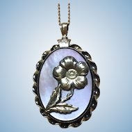 Vintage Abalone fronted locket with a rose