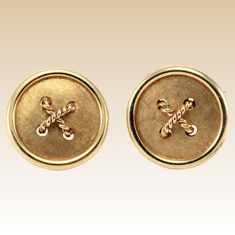 Retro 18kt Gold Cufflinks Vintage Button Style Circa 1950-1960's