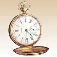 14k Waltham Pocket Watch Vintage White Dial Double Hunter Yellow Gold
