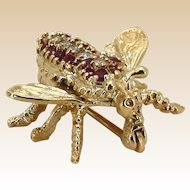 Vintage 14k Diamond Ruby Pin Brooch Yellow Gold