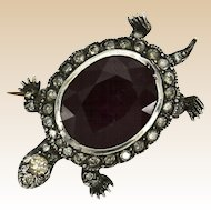 Turtle Ruby Diamond Pin Brooch Clip Estate Sterling SIlver