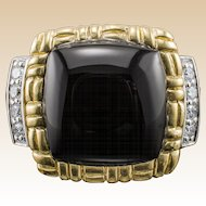 Philip Andre Diamond Ring 18k Onyx Yellow White Gold Estate Designer