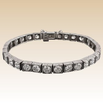 Art Deco Style Diamond Bracelet Over 6.00ctw!
