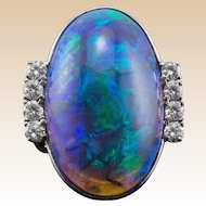Platinum Black Opal Ring Rare One of A Kind GIA Certification Translucent Opal