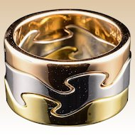 18k Georg Jenson Fusion Ring Tri-Color Designer Puzzle Band 1970's