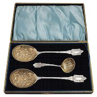 Edwardian 3 piece fruit set made by James Deakin & Sons, Sidney Works. Circa 1910