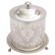 Victorian silver plated biscuit/cookie jar