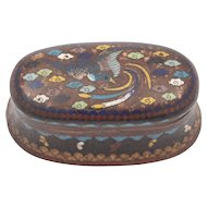 Unusual Oval Edwardian Cloisonne Vesta Box with Bird Decoration