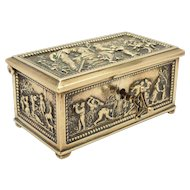 Victorian Cast Brass Jewellery Casket with Key, Circa 1880