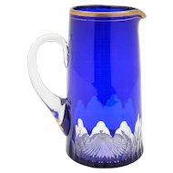 Bristol Blue Overlaid Water Jug/Pitcher, Circa 1870