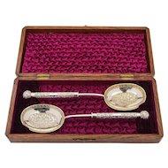 Victorian Oak Cased Serving Spoons, Circa 1890