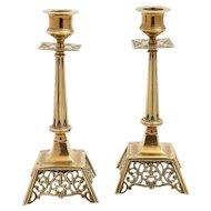 Pair of Victorian Brass Candlesticks, Circa 1890