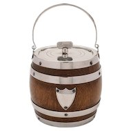 Victorian Oak and Silver Plated Biscuit Barrel/Cookie Jar