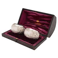 Cased Pair of Victorian Silver Napkin Rings, Birmingham 1899