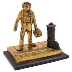 American Brass Shoe-shine Boy Paperweight, Circa 1890