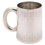 Victorian Silver Pint Tankard, London 1881