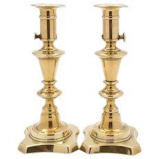 Pair of Rare Victorian Brass Candlesticks, Circa 1880