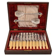 Edwardian Cased Silver Plated Dessert Set, Sheffield 1904