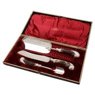 Cased Victorian Silver Plated Serving Set, Circa 1890
