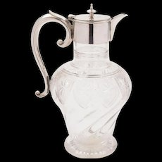 Victorian Glass and Silver Plated Claret Jug, Circa 1890